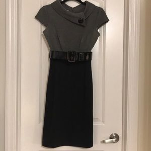 London Times High Waisted Belted Dress